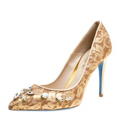 Loriblu Bijoux Beige Lace Crystal Embellished Pointed Toe Pumps Size 38.5
