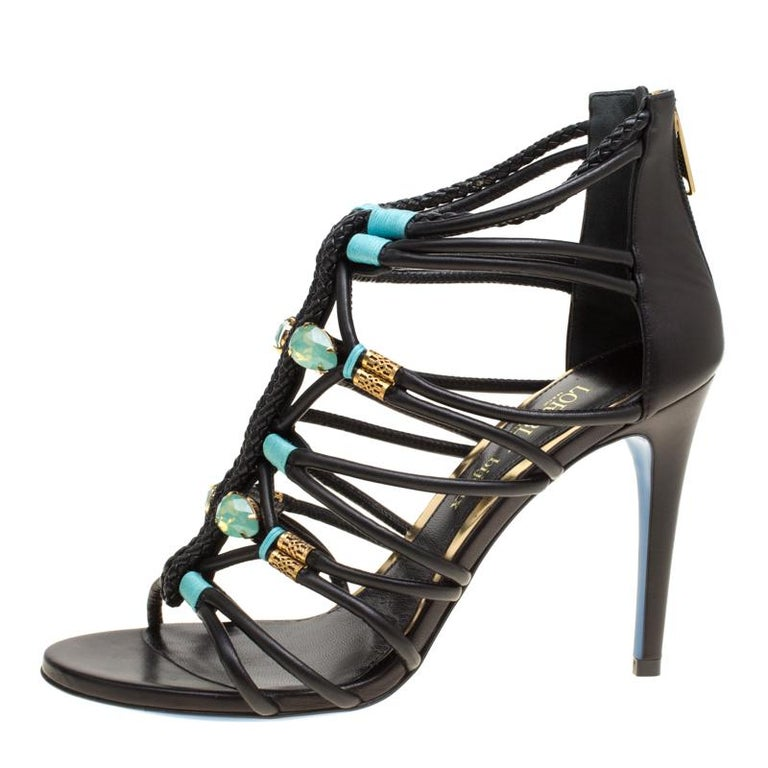 311b3579b777 Loriblu Bijoux Black Leather Crystal Embellished Strappy Sandals Size 38 For  Sale