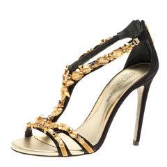 Loriblu Bijoux Black Satin Floral Embellished Crystal Studded Sandals Size 38