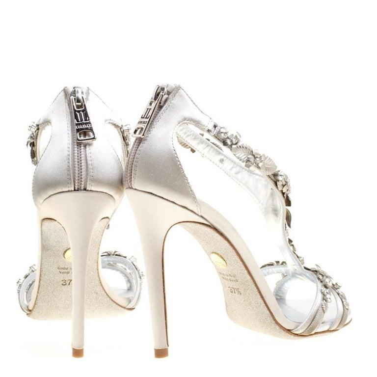 Women's Loriblu Bijoux Grey Satin Floral Embellished Crystal Studded Sandals Size 37.5 For Sale