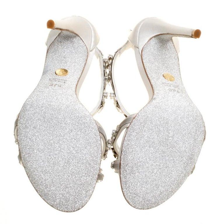 Loriblu Bijoux Grey Satin Floral Embellished Crystal Studded Sandals Size 37.5 For Sale 1