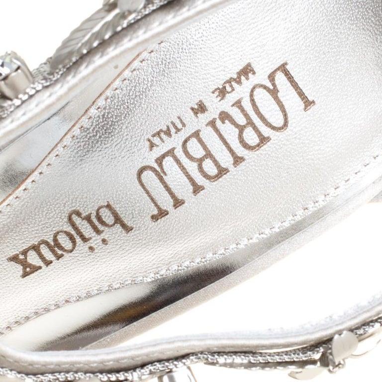 Loriblu Bijoux Grey Satin Floral Embellished Crystal Studded Sandals Size 37.5 For Sale 2