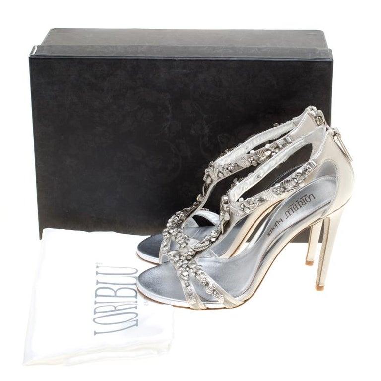Loriblu Bijoux Grey Satin Floral Embellished Crystal Studded Sandals Size 37.5 For Sale 3