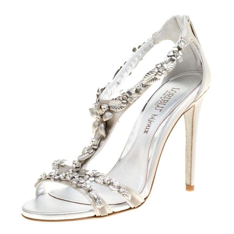 Loriblu Bijoux Grey Satin Floral Embellished Crystal Studded Sandals Size 37.5 For Sale