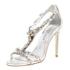 Loriblu Bijoux Grey Satin Floral Embellished Crystal Studded Sandals Size 38.5