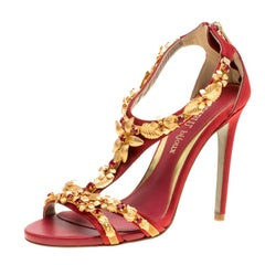 Loriblu Bijoux Red Satin Floral Embellished Crystal Studded Sandals Size 36