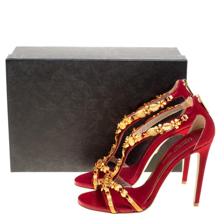 1206304d4a9 Loriblu Bijoux Red Satin Floral Embellished Crystal Studded Sandals Size 39  For Sale at 1stdibs
