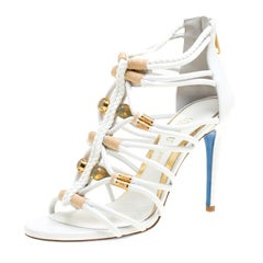Loriblu Bijoux White Leather Crystal Embellished Strappy Sandals Size 37