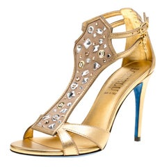 6d49727d13 Loriblu Metallic Gold Leather and Suede Crystal Embellished Sandals Size  37.5