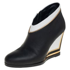 Loriblu White/Black Leather Wedge Ankle Booties Size 38