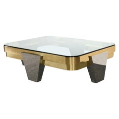 "Lorin Marsh ""Apollo"" Chrome and Brass Coffee Table, 1980s"