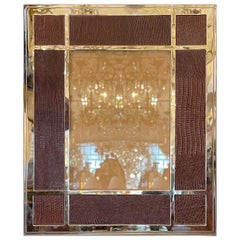 Lorin Marsh Bullnose Brown Leather Embossed Lizard Polished Nickel Picture Frame