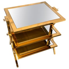 Lorin Marsh Design Three-Tiered Brass and Mirrored Glass Side Table