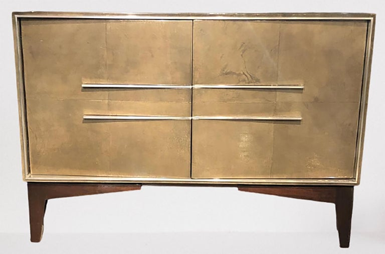 Mid-Century Modern Lorin Marsh Designs Tuxedo Two-Door Commode, Chest, Cabinet or Nightstand For Sale