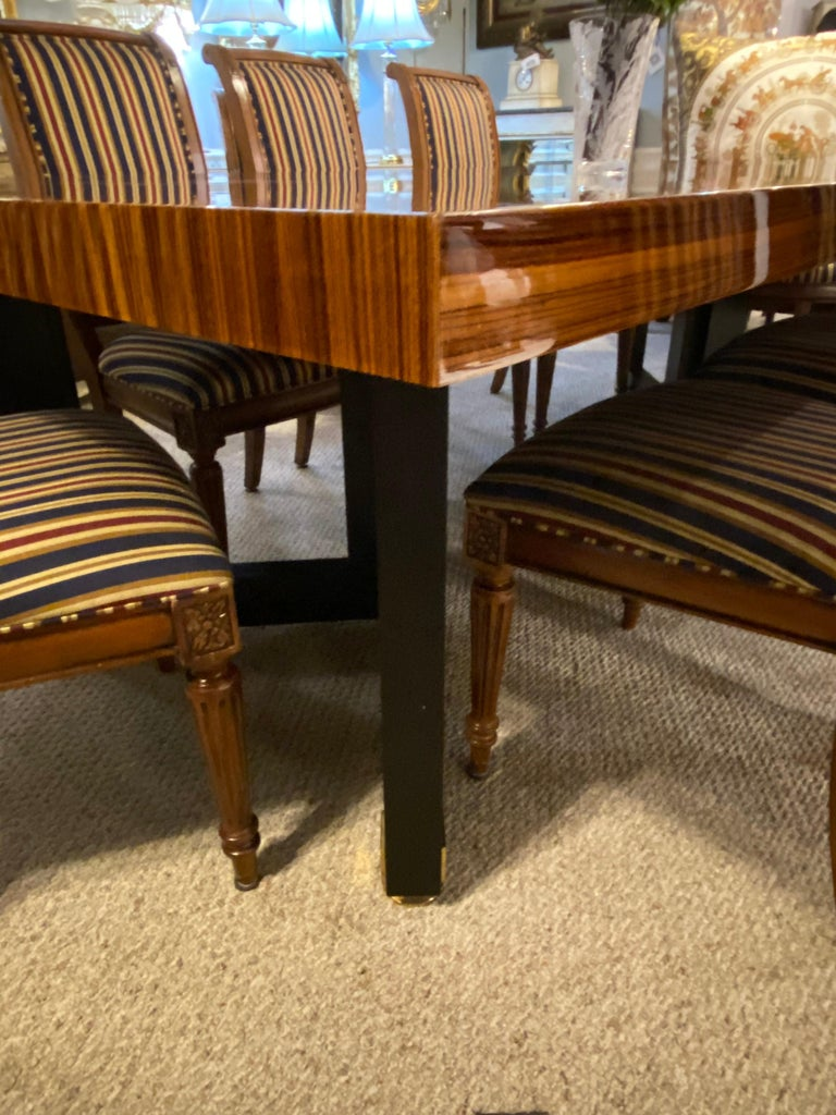 Lorin Marsh Dining Conference Table Smorgasbord Lacquered Zebra-Wood and Brass For Sale 4