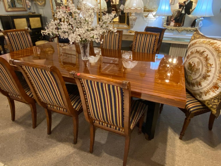 Lorin Marsh Dining Conference Table Smorgasbord Lacquered Zebra-Wood and Brass For Sale 5