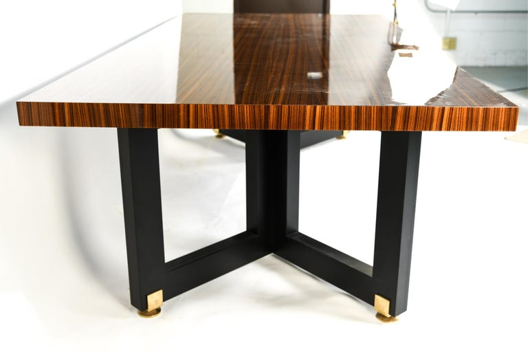Lorin Marsh design smorgasbord dining table. New York, 2000s. Unsigned. Lacquered zebra-wood with enameled wood and brass. This absolutely stunning dining or conference table is spectacular and will certainty add grace and style to any room in the
