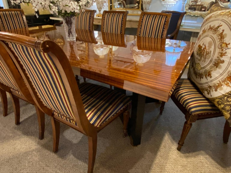 Mid-Century Modern Lorin Marsh Dining Conference Table Smorgasbord Lacquered Zebra-Wood and Brass For Sale