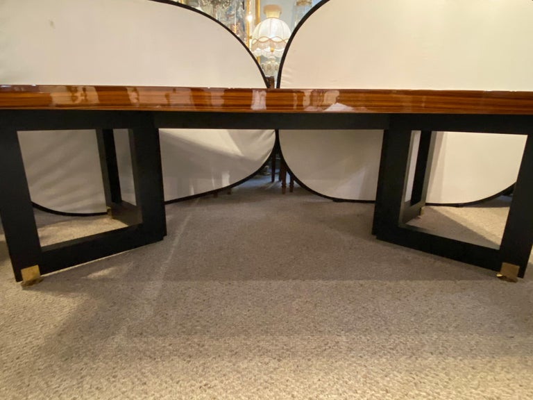 Lorin Marsh Dining Conference Table Smorgasbord Lacquered Zebra-Wood and Brass In Good Condition For Sale In Stamford, CT