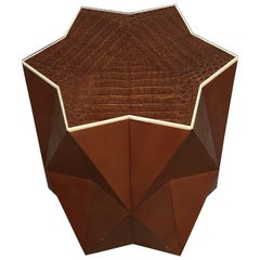 Lorin Marsh Embossed Leather Faux Goat Skin Bone Inlay Geometric Star Side Table