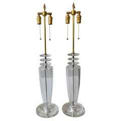 Lorin Marsh Mid-Century Modern Italian Murano Clear Glass Brass Disco Lamps Pair