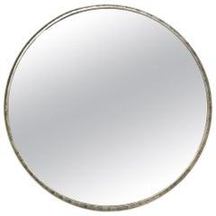 Lorin Marsh Mid-Century Modern Minimalist Steel Distressed Round Mirror