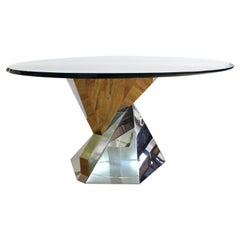 Lorin Marsh Modern Chrome Base Dining Table with Glass Top