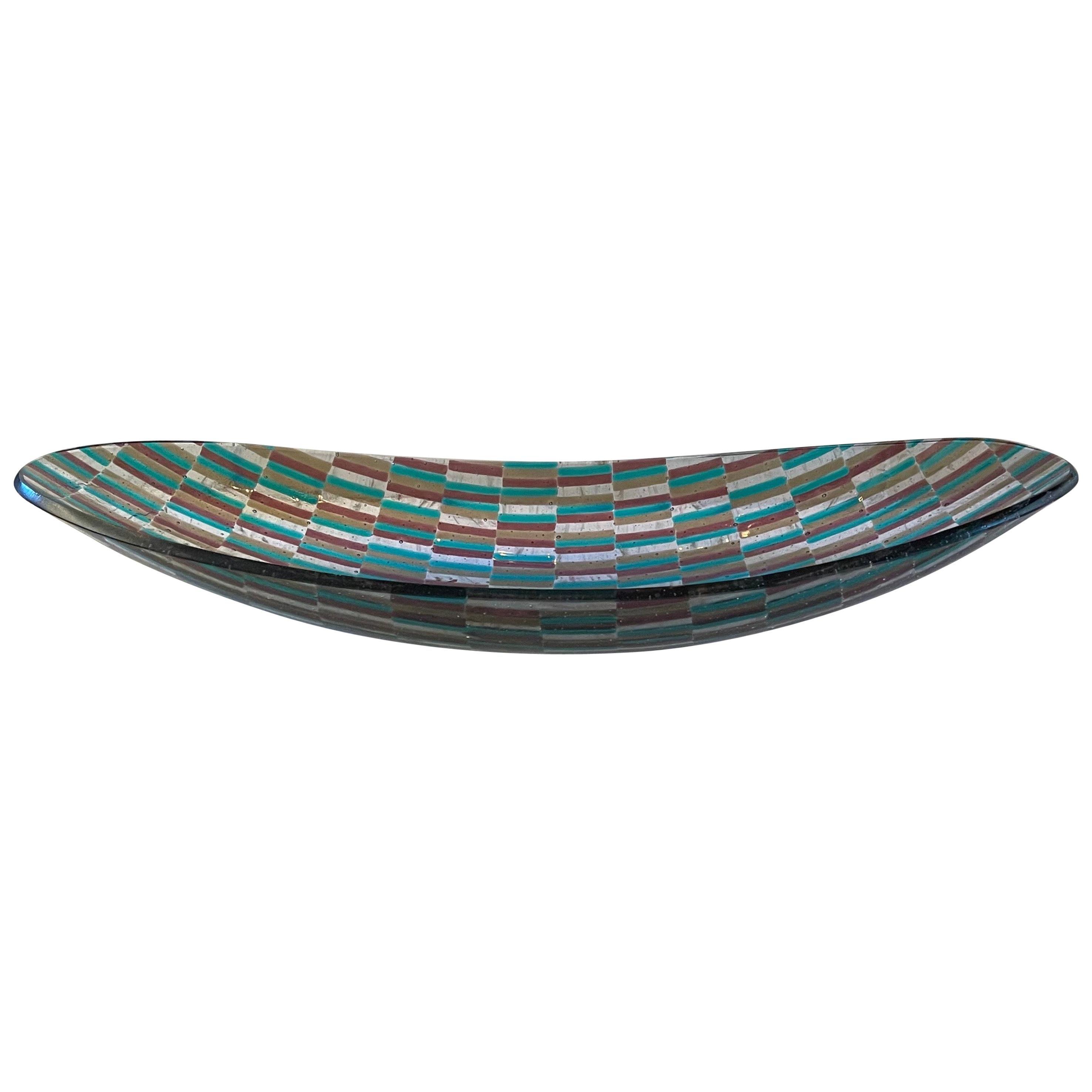 Lorin Marsh Modern Contemporary Elongated Patch Art Glass Murano Centerpiece