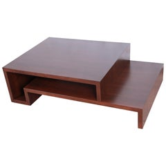 Lorin Marsh Modern Walnut Two-Tier Coffee Table, Newly Refinished