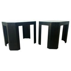 Lorin Marsh Newly Lacquered Grasscloth in Black with Glass Side/End Tables, Pair