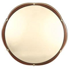 Lorin Marsh Satin Steel Polished Steel Straps Finished Wood Insert Round Mirror