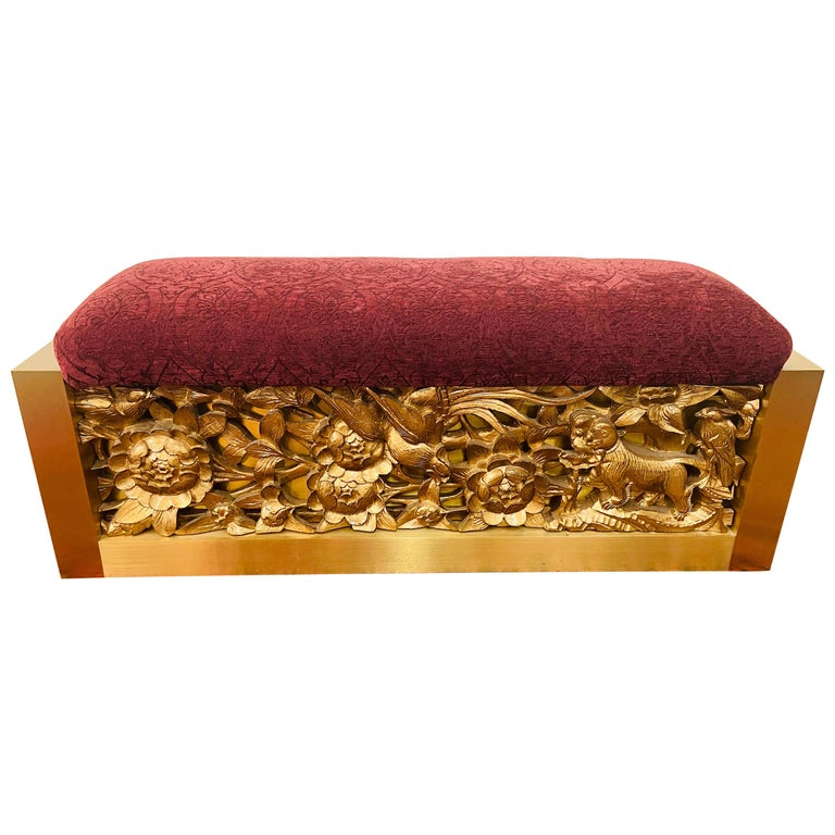 Lorin Marsh Steel and Gild Wood Bench For Sale