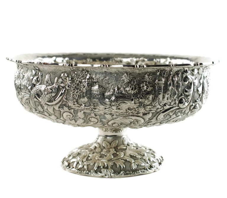 Victorian Loring Andrews Repoussé Sterling Silver Footed Centerpiece Bowl Castle Pattern For Sale