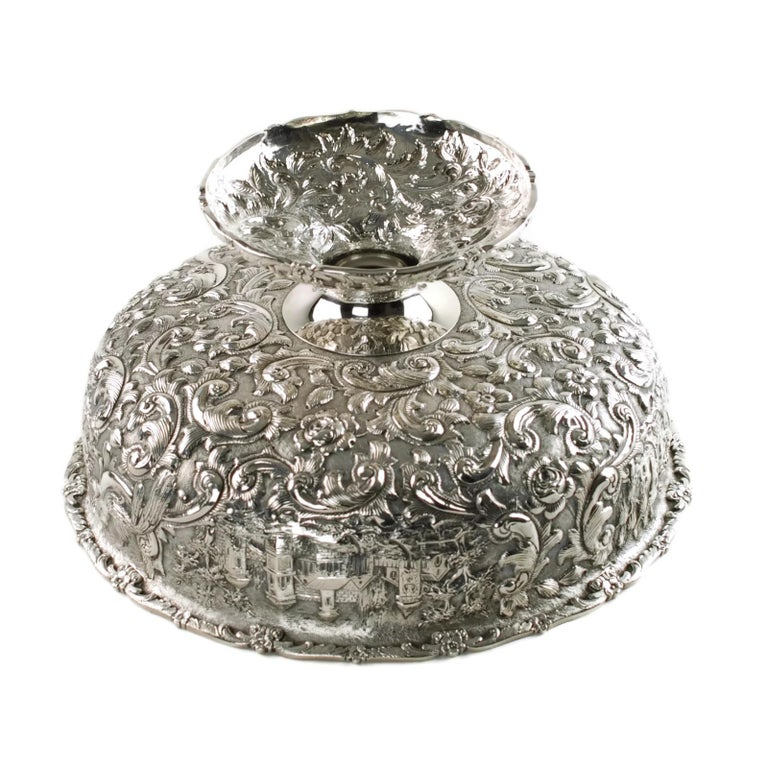 Loring Andrews Repoussé Sterling Silver Footed Centerpiece Bowl Castle Pattern For Sale 3