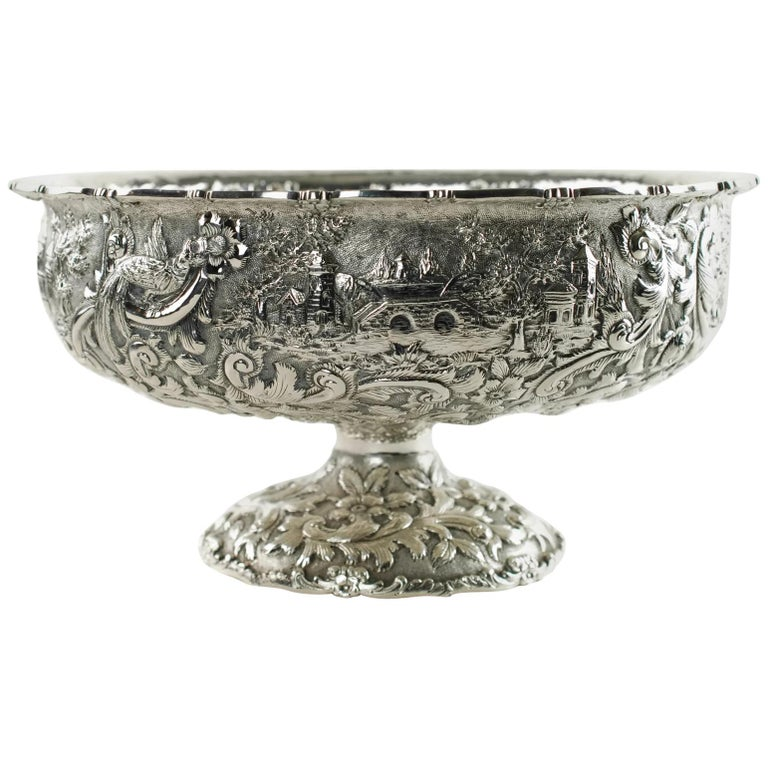 Loring Andrews Repoussé Sterling Silver Footed Centerpiece Bowl Castle Pattern For Sale