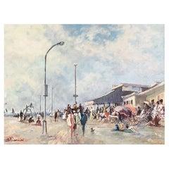 """Loriot Bernard '1925-1998' """"Deauville Boardwalk"""" in Normandy, France"""