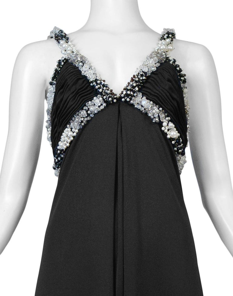 Loris Azzaro Black Beaded Gown In Good Condition For Sale In Los Angeles, CA