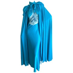 Loris Azzaro Couture 1970s Sheer Sequin Accented Turquoise Blue Dress and Cape