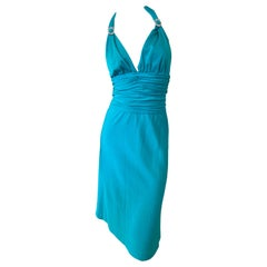 Loris Azzaro Couture 70's Low Cut Blue Cocktail Dress with Crystal Accents