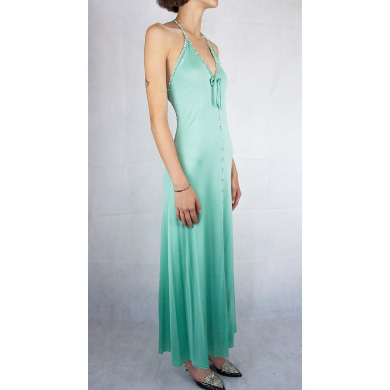 Loris Azzaro couture turquoise  silk jersey open back cocktail dress,circa 1970s In Excellent Condition For Sale In London, GB
