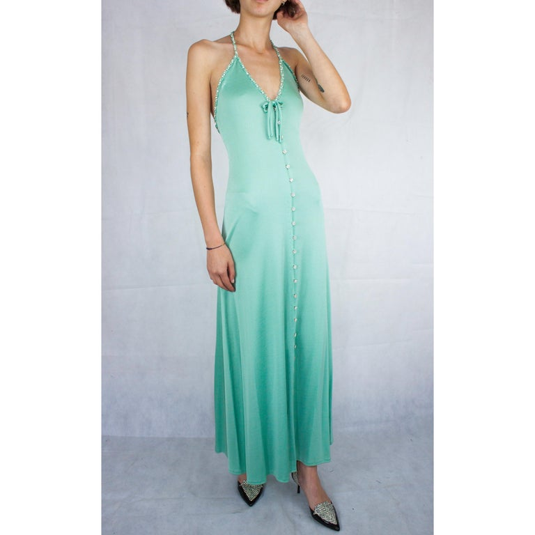 Women's Loris Azzaro couture turquoise  silk jersey open back cocktail dress,circa 1970s For Sale