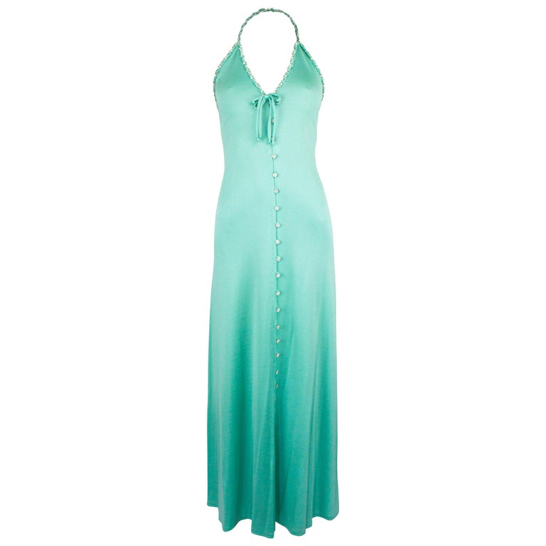Loris Azzaro couture turquoise  silk jersey open back cocktail dress,circa 1970s For Sale