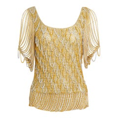 Loris Azzaro French 70s hand crocheted lurex gold and silver metal chain top
