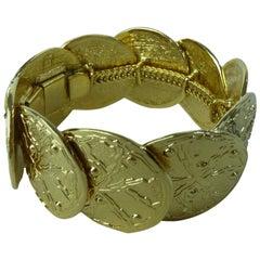 Loris Azzaro Gold Metal Costume Jewelry Bracelet 1980s