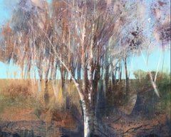 Birch Copse - contemporary tree landscape birches acrylic painting