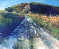 Ivinghoe Beacon II - contemporary landscape hills mountains acrylic painting