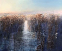 Reeds, Walberswick - contemporary landscape reed wetland nature acrylic painting