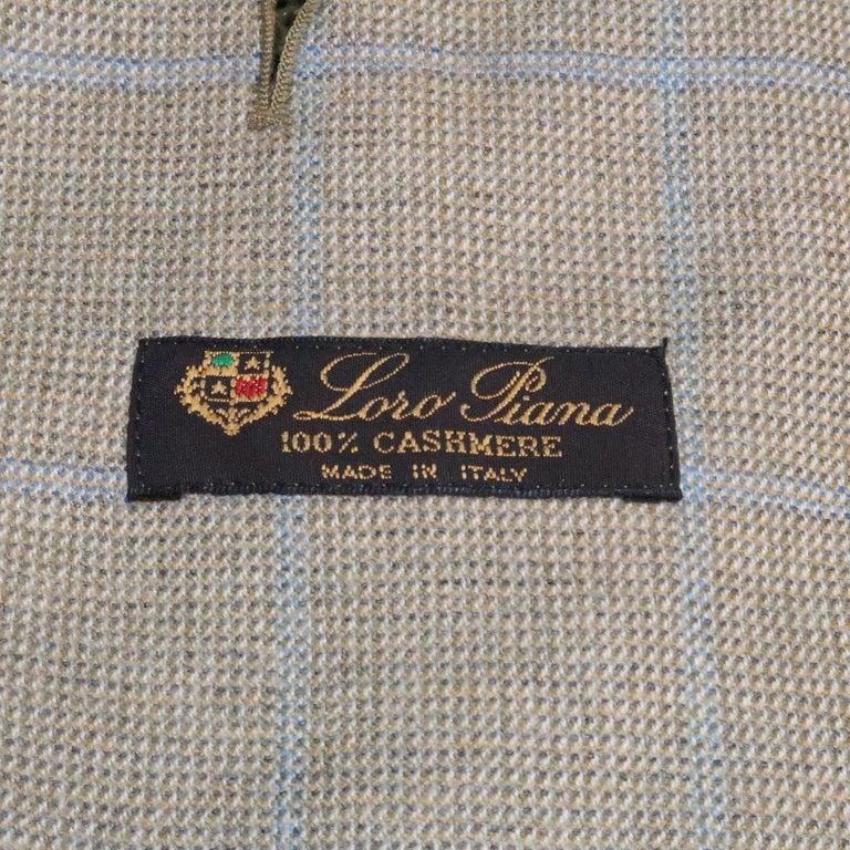 LORO PIANA 42 Green & Blue Plaid Cashmere Notch Lapel Sport Coat For Sale 5