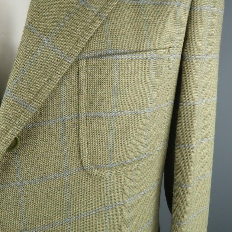 Brown LORO PIANA 42 Green & Blue Plaid Cashmere Notch Lapel Sport Coat For Sale