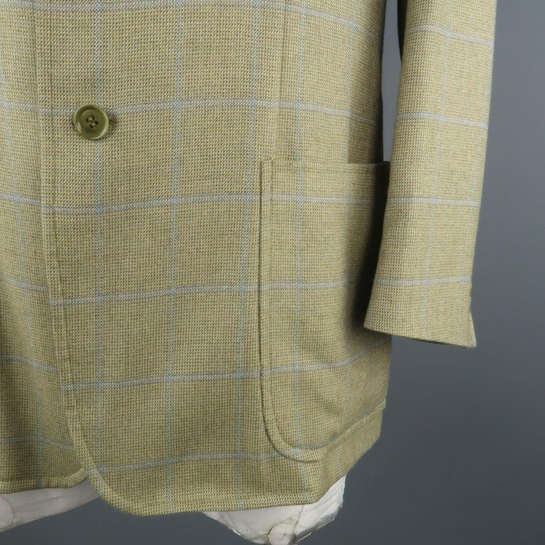 LORO PIANA 42 Green & Blue Plaid Cashmere Notch Lapel Sport Coat In Excellent Condition For Sale In San Francisco, CA